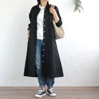 リネン シャツワンピース 前開きギャザー 2way羽織り (ブラック)