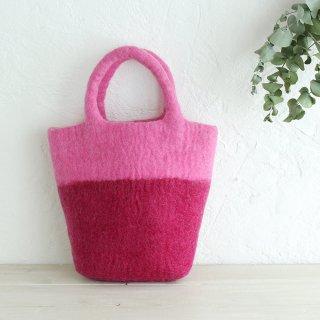 羊毛100% ウールフェルトトートバッグ 内ポケット付 (ピンク)