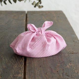 alinのあづま袋 S お弁当包み リネンあずま袋 マチ付き(ギンガムチェック/ピンク)