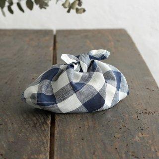 alinのあづま袋 S お弁当包み リネンあずま袋 マチ付き(ブロックチェック/ネイビー)