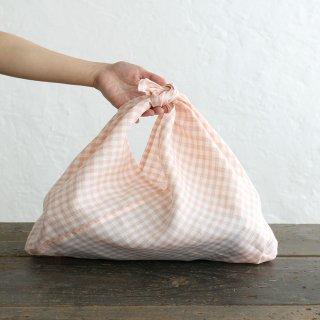 alinのあづま袋 M 50cm かごバッグに リネンあずま袋 マチ付き (ギンガムチェック/コーラルピンク)