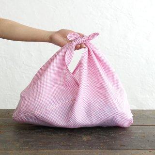 alinのあづま袋 M 50cm かごバッグに リネンあずま袋 マチ付き (ギンガムチェック/ピンク)