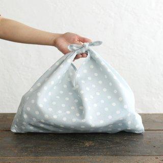 alinのあづま袋 M 50cm かごバッグに リネンあずま袋 マチ付き (ドット/アイスブルー)