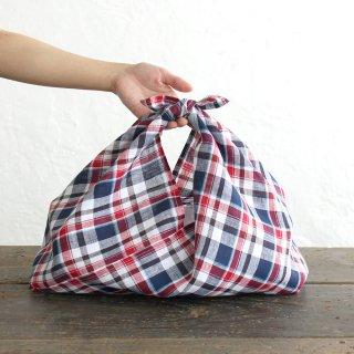 alinのあづま袋 M 50cm かごバッグに リネンあずま袋 マチ付き (マドラスチェック)
