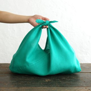 alinのあづま袋 M 50cm かごバッグに リネンあずま袋 マチ付き (ピーコックグリーン)