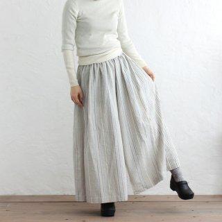 手織りコットン 草木染め ワイドパンツ ストライプのキュロット(生成り/ブルー)