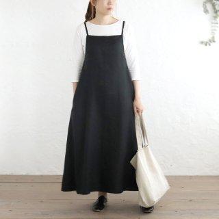 リネン サロペット タブリエ風リボンスカート (ブラック)