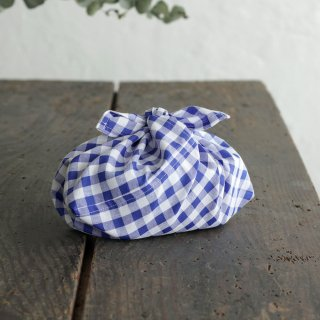 alinのあづま袋 S お弁当包み あずま袋 マチ付き(ギンガムチェック*ブルー)※コットンとポリエステルの混紡生地