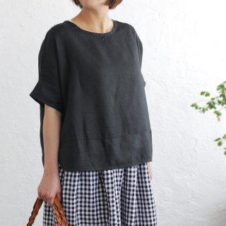 ヘンプ麻100% プルオーバー ワイドTシャツ (ブラック)