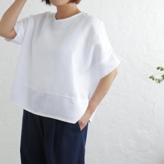 ヘンプ麻100% プルオーバー ワイドTシャツ (ホワイト)