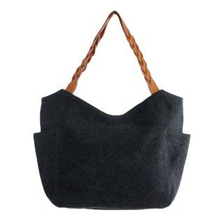 22オンス帆布と編み込みレザーショルダーのトートバッグ mum (ブラック)