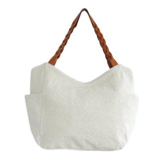 22オンス帆布と編み込みレザーショルダーのトートバッグ mum (オフホワイト)