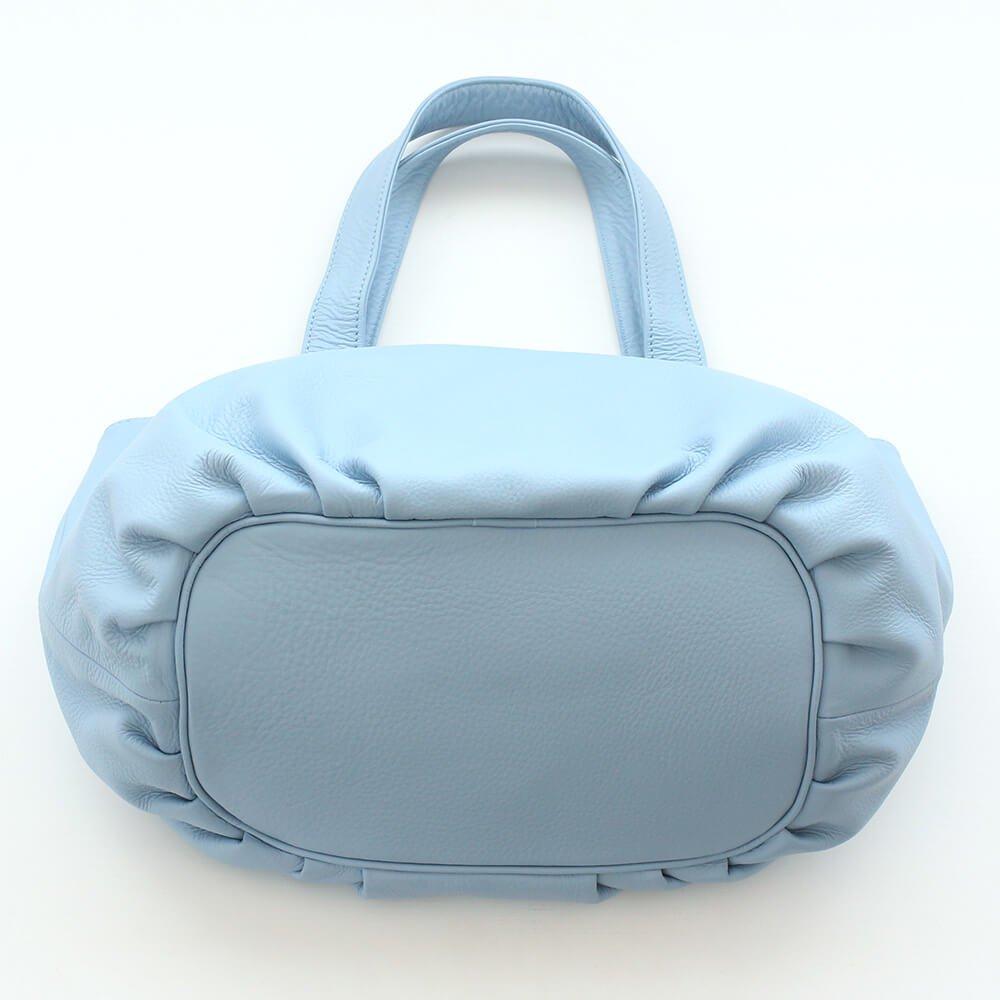 水濡れに強い 本牛革レザー トートバッグ luuk (ライトブルー)