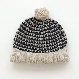 羊毛100% ポンポン付きニットキャップ (ネイビー)