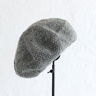 羊毛100% 鹿の子編みニットベレー帽 (グレー)