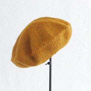 羊毛100% 鹿の子編みニットベレー帽 (マスタード)