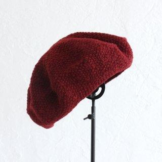 羊毛100% 鹿の子編みニットベレー帽 (ボルドー)