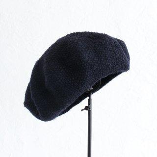 羊毛100% 鹿の子編みニットベレー帽 (ネイビー)