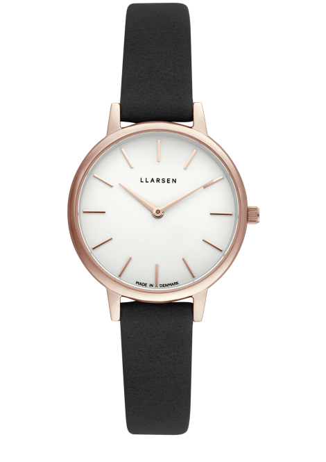 CAROLINE (LW46) Rose gold with Coal leather strap