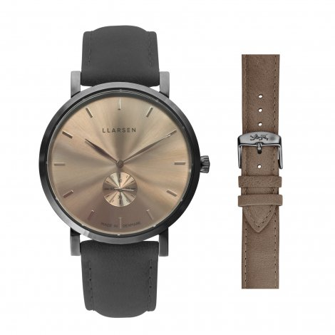 【期間限定プライス・Valentine's Dayギフトに最適】NIKOLAJ (LW43) Oxidized steel with 2 straps package (Grey / Tan)