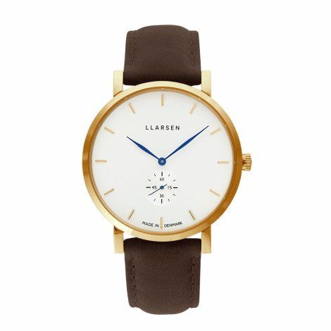 【期間限定プライス・Valentine's Dayギフトに最適】NIKOLAJ (LW43) Gold with Wood leather strap / White dial_Blue hands