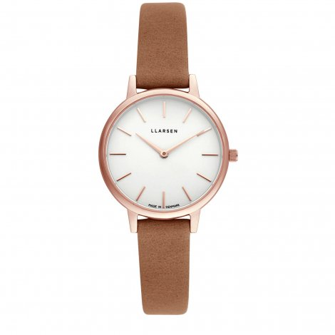 CAROLINE (LW46) Rose gold with Camel leather strap / White dial