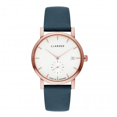HELENA (LW37) Rose gold with Ocean leather strap / White dial