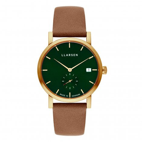 HELENA (LW37) Gold with Camel leather strap / Forest dial