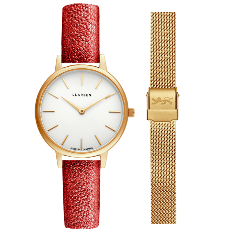 WEB限定ギフトセット CAROLINE (LW46) Gold with 2 straps package ( Gold bracelet / Red glitter leather)
