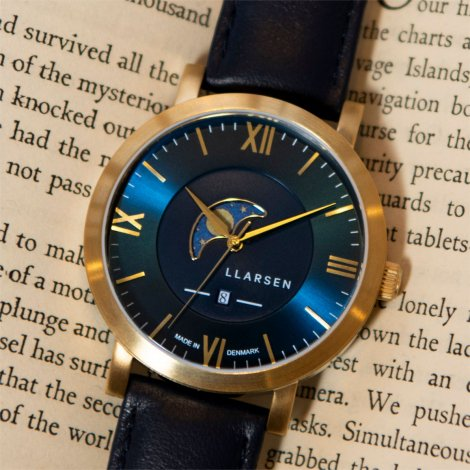 2020SSコレクション・ムーンフェイズ HUGO (LW80) Gold with Blue leather strap