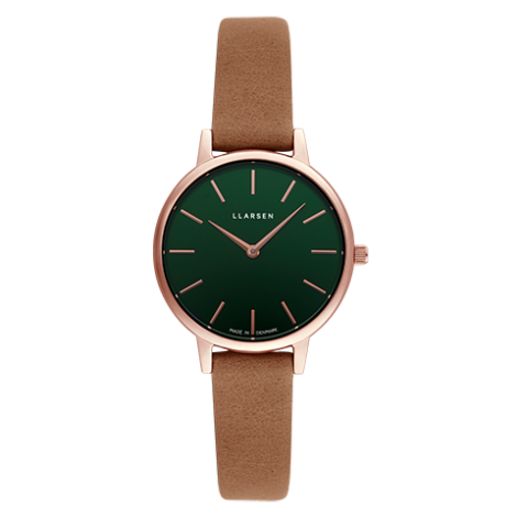 2020AWコレクション CAROLINE(LW46)Rose gold with camel leather strap / Forest green dial
