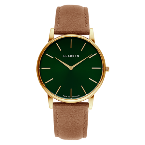 2020AWコレクション OLIVER(LW47)Gold with camel leather strap / Forest green dial
