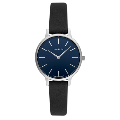 CAROLINE (LW46) steel coal leather strap / deep ocean blue dial
