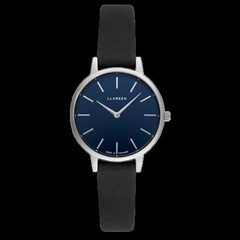 CAROLINE (LW46) steel coal leather strap / deep ocean blue dial
