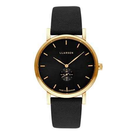 【Winter Sale! 50%OFF】 JOSEPHINE (LW44) Gold with Coal leather strap / Black dial