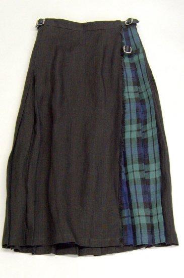 O'neil of Dublin オニールオブダブリン リネンプリーツスカート ブラック/ブラックウォッチ