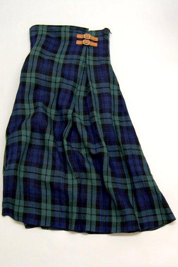 O'neil of Dublin オニールオブダブリン リネンタータンチェック ハイウェストスカート