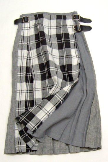 O'neil of Dublin オニールオブダブリン リネンクレージーパターン ラップスカート