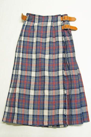 O'neil of Dublin オニールオブダブリン リネンタータンチェック プリーツスカート