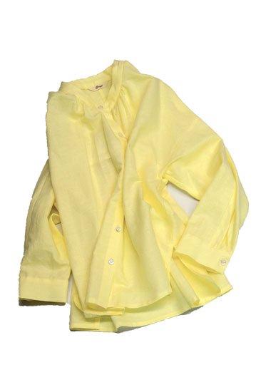 Crespi クレスピ 綿麻シーチング スタンドカラーシャツ