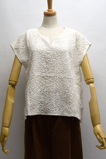 Tous les Jours トゥレジュール インド綿刺繍 フレンチスリーブブラウス