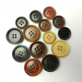 [14個入]ベージュ・茶色・黒色ボタン/14mm・19mm/4穴/パンツなどに最適