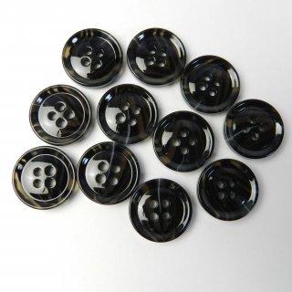 模様入黒色系ボタン/18mm/4穴/コート袖口やカーディガンに最適