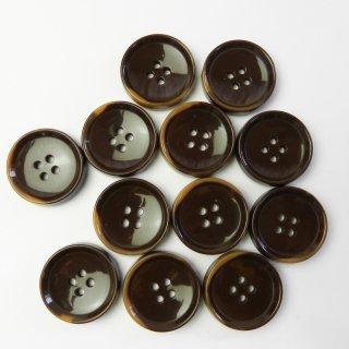模様入茶色系ボタン/25mm/4穴/コートに最適