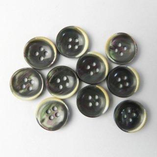 黒色系貝調ボタン/15mm/4穴/ジャケットやスーツ上着の袖口・カーディガンに最適