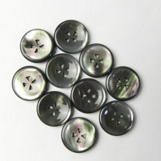 黒色系貝調ボタン/15mm/三角形の4穴/ジャケットやスーツ上着の袖口・カーディガンに最適
