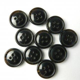 こげ茶色系の水牛調ボタン/15mm/4穴/ジャケット袖口・カーディガンに最適