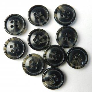 黒色系の水牛調ボタン/15mm/4穴/ジャケット袖口・カーディガンに最適