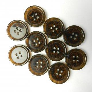模様入り茶色系ボタン/23mm/4穴/コートに最適