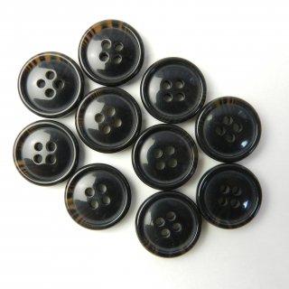 こげ茶色系の水牛調ボタン/18mm/4穴/コート袖口・カーディガンに最適